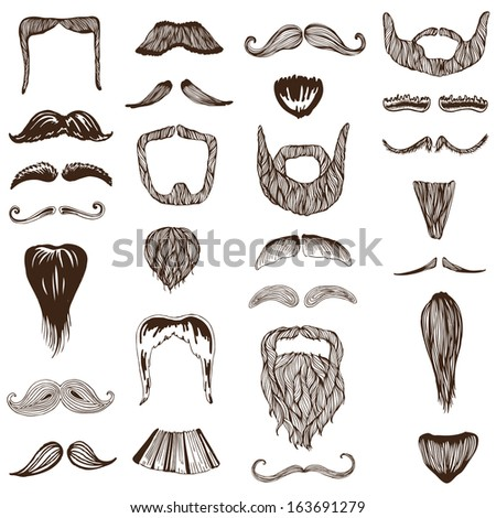 Set of hand drawn Moustache / Mustache - photo booth, costume, party - in vector - stock vector