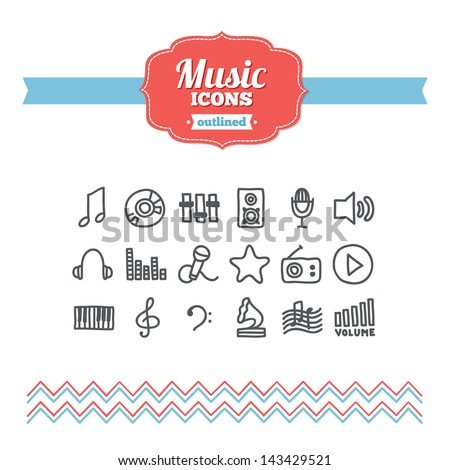 Set of hand-drawn music icons - stock vector