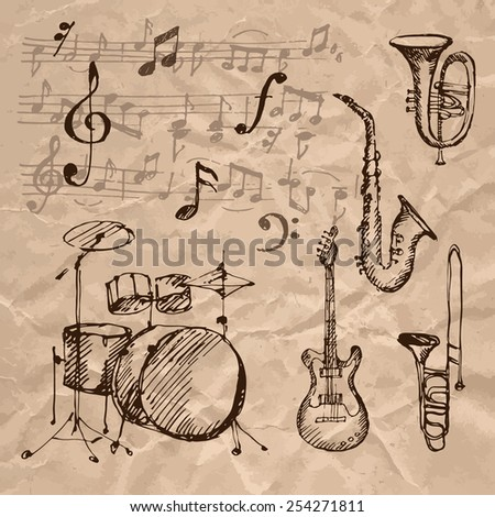 Set of hand drawn musical instrument icons on crumpled kraft paper texture. Vector illustration. - stock vector