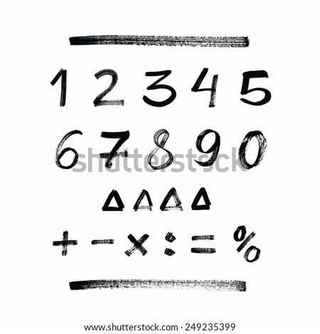 Set of hand drawn numbers - stock vector