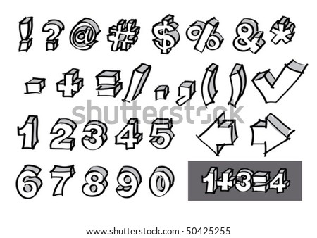 Set of hand-drawn numbers and symbols in vector format