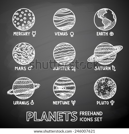 Set of hand drawn on a chalkboard planet icons with names and astronomical symbols - mercury, Venus, earth, mars, Jupiter, Saturn, Uranus, Neptune, Pluto. Vector - stock vector