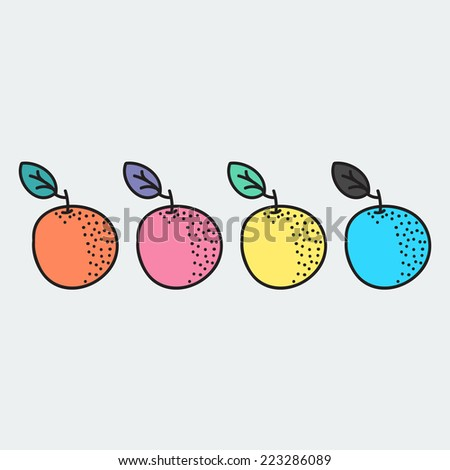 set of hand-drawn orange - illustration on the theme of the summer and autumn - farm, fruit, natural. Pink, blue, yellow and orange sweet and tasty oranges.  - stock vector