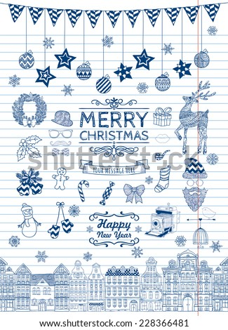 Set of Hand-drawn Outlined Christmas Doodle Icons. Xmas Vector Illustration. Striped Paper Texture. Party Elements, Cartoons - stock vector