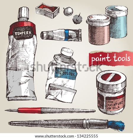 Set of hand drawn paint tools - stock vector
