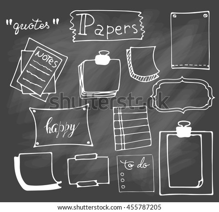 Set of hand drawn paper notes in vector. Set  of hand drawn isolated doodle notepaper for messages.Collection of elements in doodle style. Isolated. Outline. Office supplies