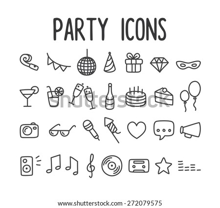 Set of hand drawn party themed line icons. - stock vector