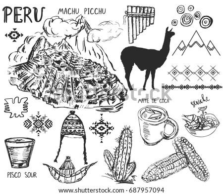 Set Hand Drawn Peruvian Symbols Elements Stock Vector ...