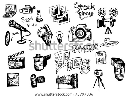 set of hand drawn photographer object - stock vector