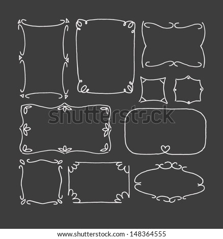 Set of hand drawn picture frames. Thin line style. Chalkboard style. - stock vector