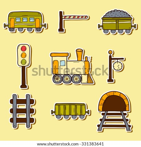 Set of hand drawn railroad stickers: wagons, semaphore, railway station clock, locomotive, barrier, tunnel. Transport shipping delivery or travel concept - stock vector