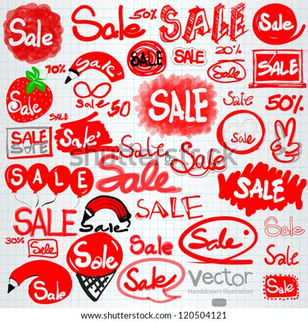 Set of hand drawn red discount as sale text - stock vector