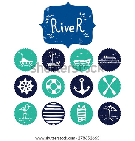 Set of hand drawn river and summer vacation doodles. Cartoon icons isolated on white background and River lettering. - stock vector