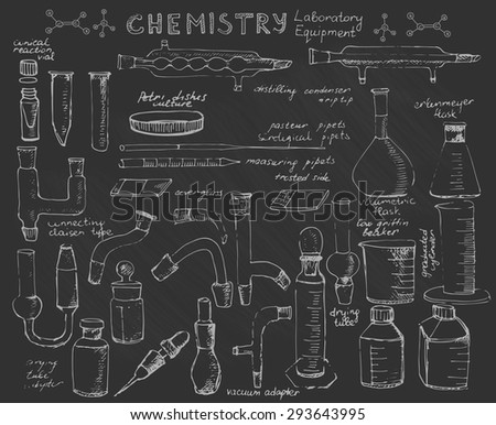 Set of hand drawn science chemical equipment on blackboard, Chemistry education research laboratory tool, chemical beaker, flask, cylinder, tubes, adapters, Vector illustration. - stock vector