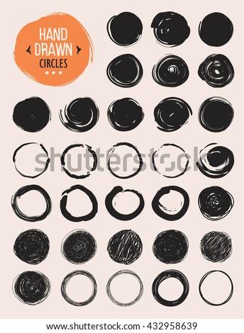 Set of hand drawn scribble circles. Vector design elements. - stock vector