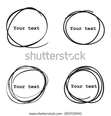 Set of 4 Hand Drawn Scribble Circles, vector elements design  - stock vector