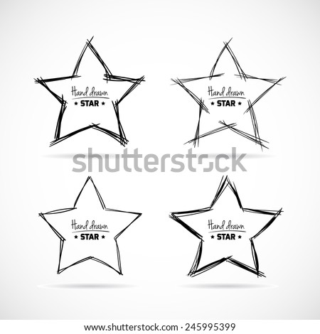 Set of hand drawn scribble isolated stars. Sketch vector elements. - stock vector