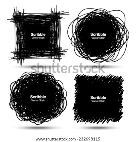 Set of Hand Drawn Scribble Shapes, vector design elements  - stock vector