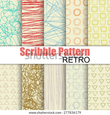 Set of hand drawn scribble vector patterns. Texture can be used for wallpaper, pattern fills, web page background, surface textures. - stock vector