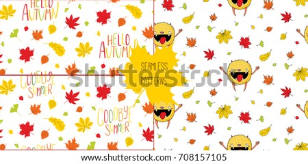 Set Of Hand Drawn Seamless Vector Patterns With Happy Little Monster, Autumn  Leaves And Quotes
