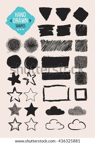 Set of hand drawn shapes. Vector design elements. - stock vector