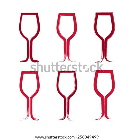 Set of hand-drawn simple empty wineglasses, collection of brush drawing goblet icons, hand-painted glass of wine isolated on white background.  - stock vector