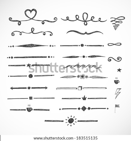 Set of hand-drawn sketch dividers isolated on white. Vector illustration. - stock vector
