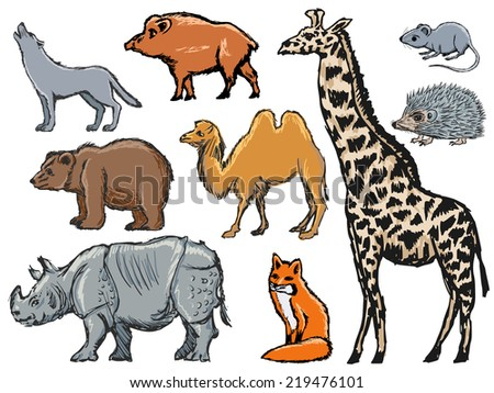 set of hand drawn, sketch illustrations of mammals - stock vector