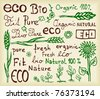 Set of hand drawn sketch which relate with ecology and nature - stock vector