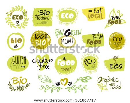 Set of hand drawn sketch which relate with ecology and nature. Vector illustration for designers. Collection.  - stock vector