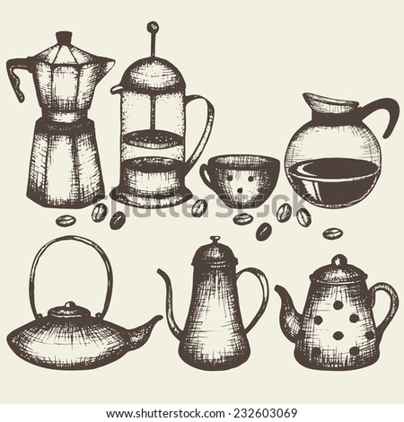 set of hand drawn sketches of coffee and tea pots - stock vector