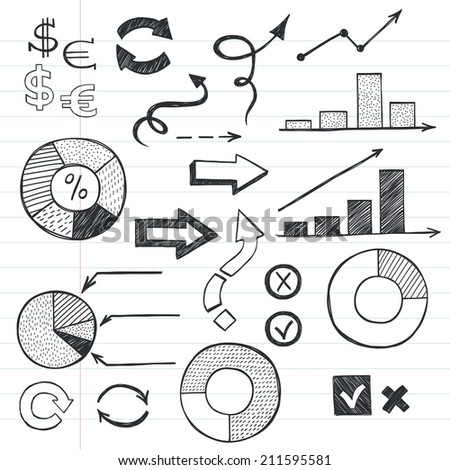 Set of hand drawn sketchy business icons on lined notebook paper background. Stock market related images. - stock vector