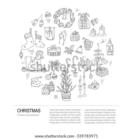 Set of hand drawn sketchy christmas elements Doodle vector illustration elements Candles gift boxes christmas tree wreath stocking candy canes cookie bells holly decoration calligraphy Merry Christmas - stock vector