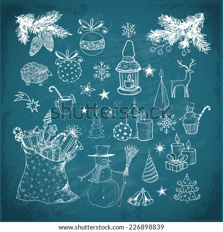 Set of hand-drawn sketchy christmas elements on blackboard. Doodle sketch vector illustration. Candles, gift boxes. snowmen, pomanders.