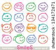 set of hand drawn smiles on white background - stock photo