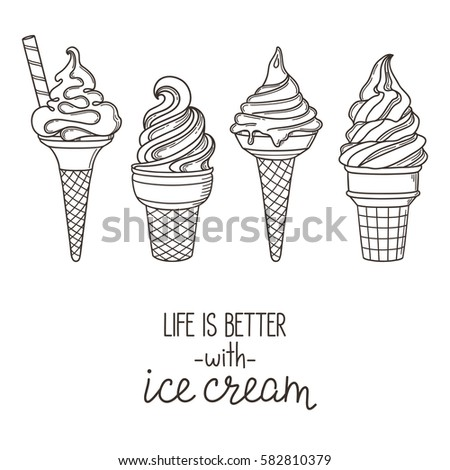 Set of hand drawn soft serve ice cream cones. Life is better with ice cream lettering