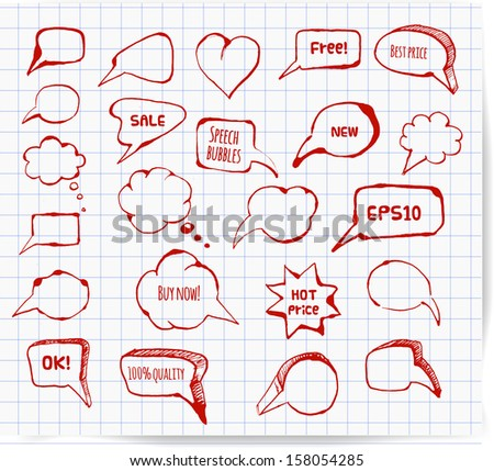 Set of hand-drawn speech and thought bubbles for your design. Red pen sketch. Doodle vector illustration.  - stock vector