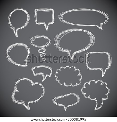 Set of hand-drawn speech and thought bubbles on gray background. Vector illustration.