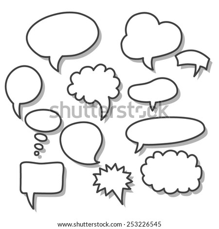 Set of hand-drawn speech and thought bubbles on white background. Vector illustration.