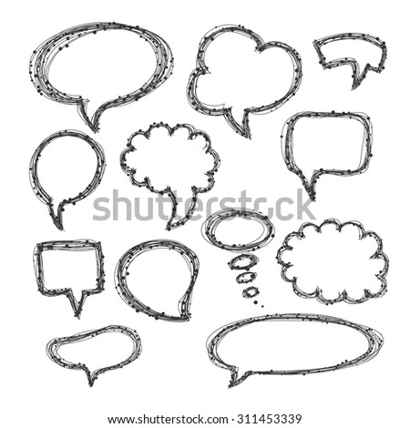 Set of hand-drawn speech and thought bubbles on white background. Vector illustration. - stock vector