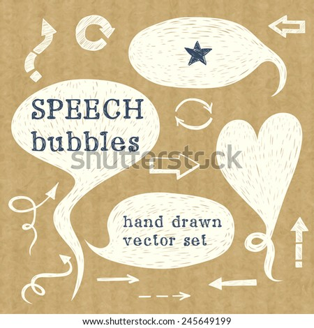 Set of hand drawn speech bubbles. Doodle cartoon comic bubbles isolated on brown kraft paper background. - stock vector