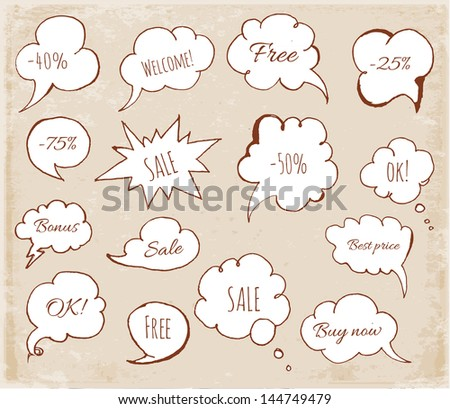 Set of hand-drawn speech bubbles in vintage style Vector illustration - stock vector