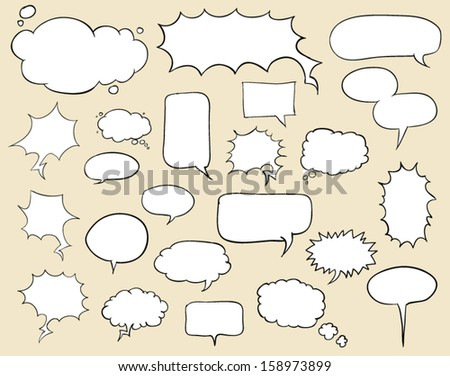 Set of hand-drawn speech bubbles . Layered. Vector EPS 10 illustration.  / can use for promotion / detail / description.