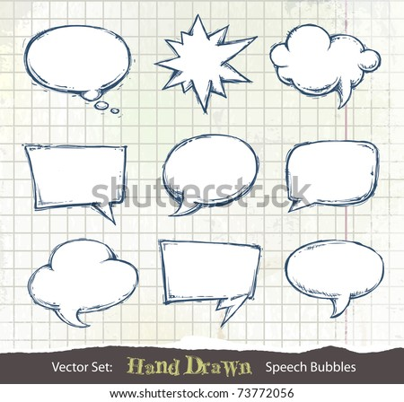 Set of hand-drawn speech bubbles on dirty sketchbook background. Layered. Vector EPS 10 illustration. - stock vector