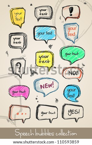 Set of hand drawn speech bubbles. Vector - stock vector