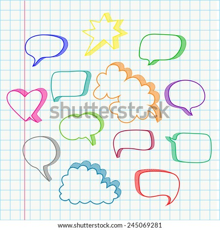 Set of hand drawn speech bubbles vector in color - stock vector