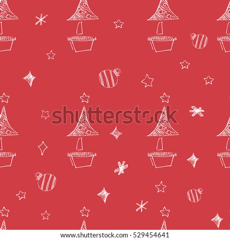 Set of hand drawn stars. Retro vintage style. Seamless background. Vector illustration. chrismas pattern on red background.