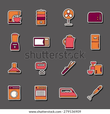 Set of hand drawn stickers on home appliance theme for your design