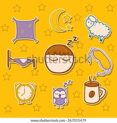 Set of hand drawn stickers on sleep theme for your design - stock vector