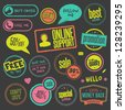 Set of hand drawn style badges and elements on blackboard - stock vector
